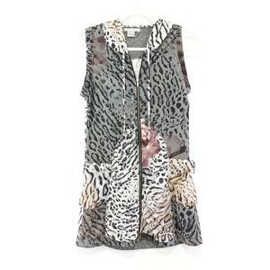 Alberto Makali Floral Leopard Print Hooded Vest